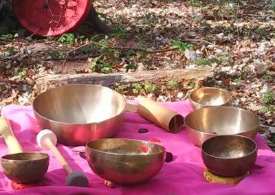 ateliers d'ancrage en nature à Gembloux avec bols chantants